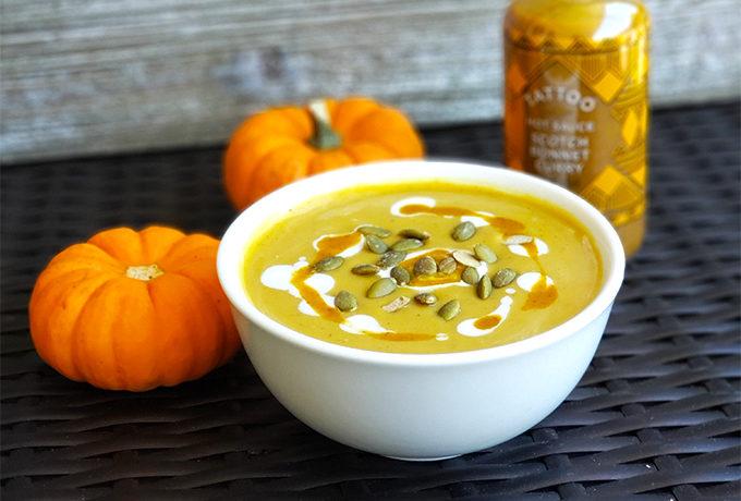 Tattoo Spicy Pumpkin Soup with Scotch Bonnet Curry hot sauce