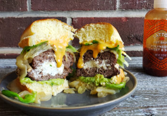 Goat Cheese Stuffed Burgers with Guacamole and Caramelized Onions